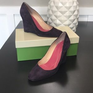 Kate Spade Halle Plum Wedges Size 7
